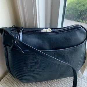 Navy blue crossbody leather bag 10X8 NWT